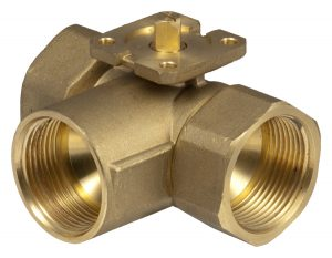 3-way change-over ball valve (T) with female thread, PN 40