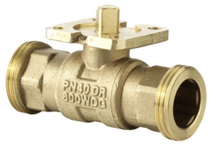 2-way cut-off ball valve with male thread, PN 40